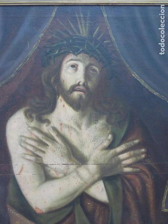 Arte: EXTRAORDINARIO Y GRAN CUADRO AL OLEO DE UN ECCE HOMO - ESCUELA ESPAÑOLA S XVIII - Foto 2 - 167973512
