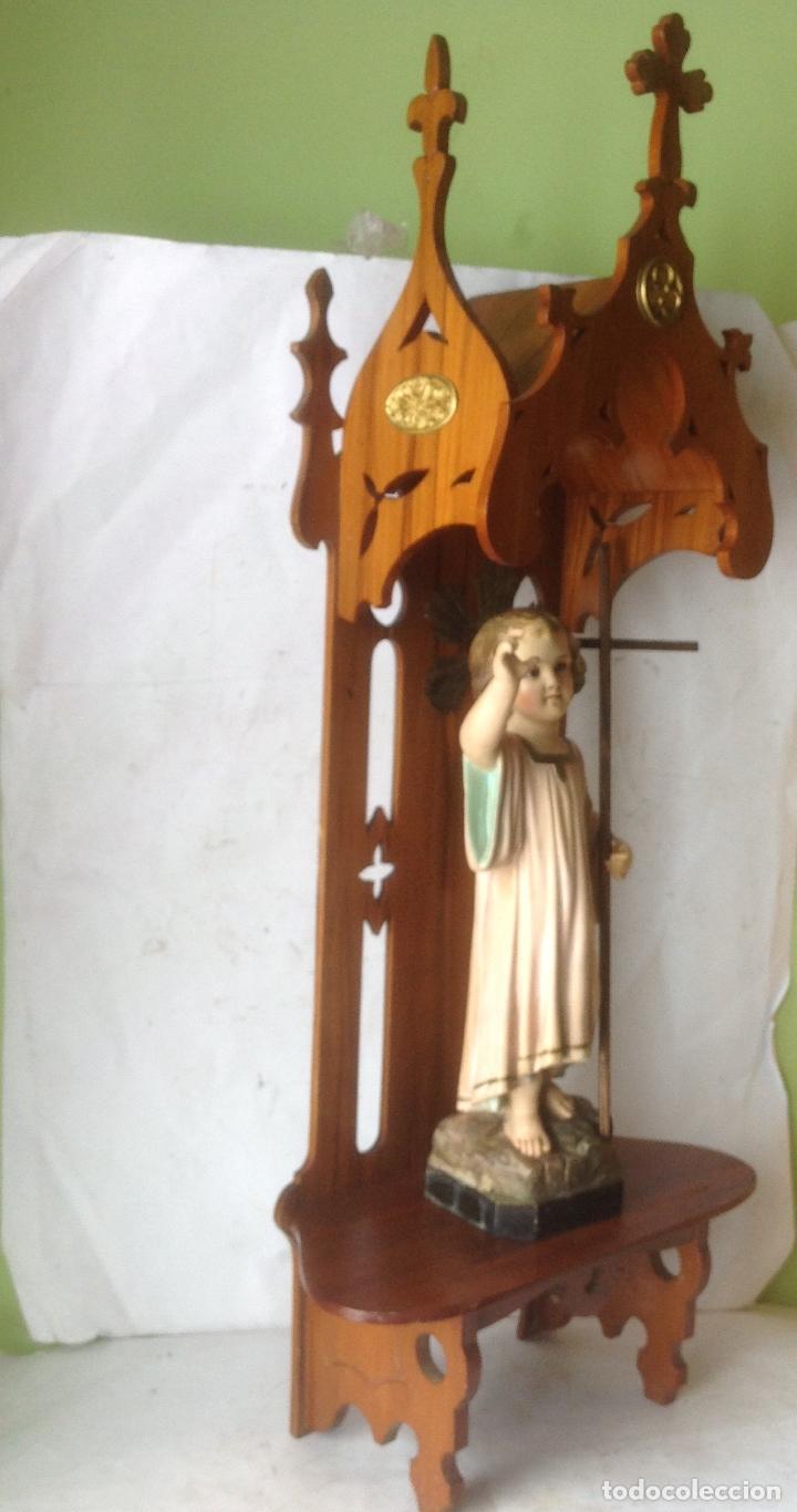 Arte: MUY ANTIGUA FIGURA OLOT , NIÑO JESUS CON LA CRUZ , EN UNA GRAN CAPILLA MODERNISTA - Foto 7 - 167985024