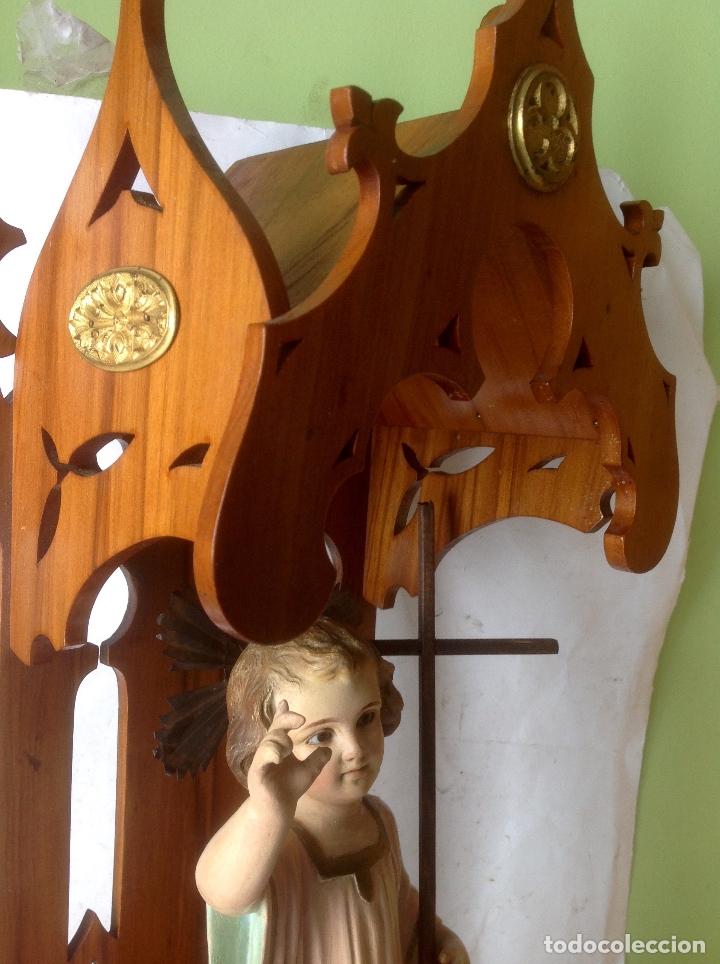 Arte: MUY ANTIGUA FIGURA OLOT , NIÑO JESUS CON LA CRUZ , EN UNA GRAN CAPILLA MODERNISTA - Foto 8 - 167985024