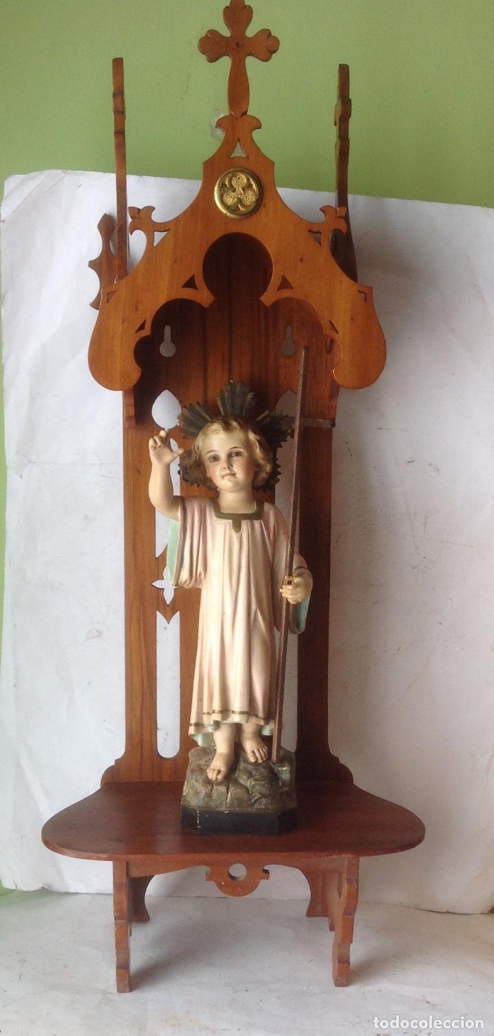 Arte: MUY ANTIGUA FIGURA OLOT , NIÑO JESUS CON LA CRUZ , EN UNA GRAN CAPILLA MODERNISTA - Foto 12 - 167985024