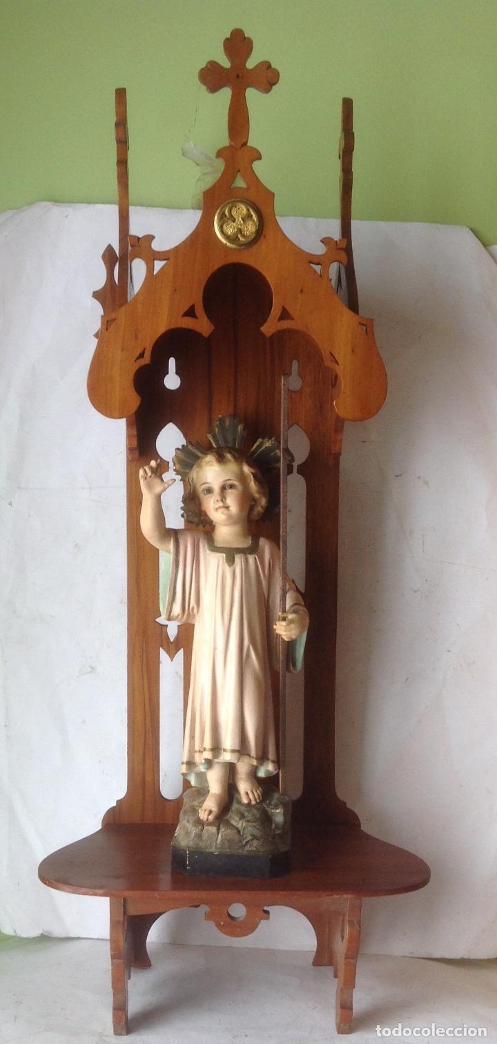 MUY ANTIGUA FIGURA OLOT , NIÑO JESUS CON LA CRUZ , EN UNA GRAN CAPILLA MODERNISTA (Arte - Arte Religioso - Escultura)