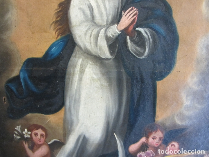Arte: OLEO SOBRE LIENZO VIRGEN PURÍSIMA-INMACULADA CONCEPCIÓN SIGLO XVIII - Foto 3 - 168039912