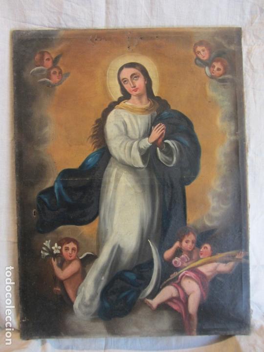 OLEO SOBRE LIENZO VIRGEN PURÍSIMA-INMACULADA CONCEPCIÓN SIGLO XVIII (Arte - Arte Religioso - Pintura Religiosa - Oleo)