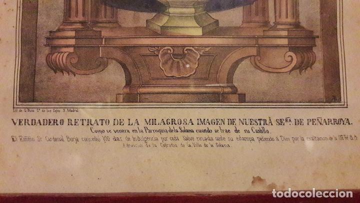 Arte: Litografia coloreada Virgen Peñarroya La Solana ( CIudad Real )S.XIX - Foto 2 - 168058512
