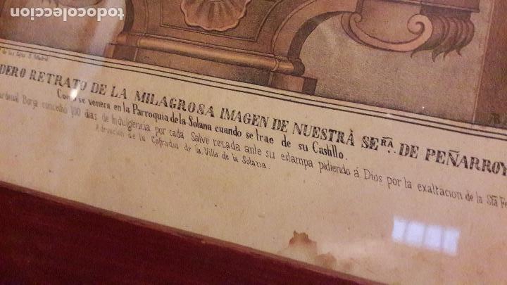 Arte: Litografia coloreada Virgen Peñarroya La Solana ( CIudad Real )S.XIX - Foto 4 - 168058512