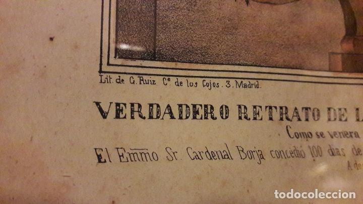 Arte: Litografia coloreada Virgen Peñarroya La Solana ( CIudad Real )S.XIX - Foto 8 - 168058512