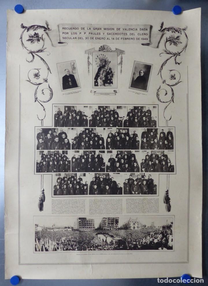 CARTEL VALENCIA - RECUERDO DE LA GRAN MISION DADA POR LOS P. P. PAULES Y SACERDOTES DEL CLERO - 1949 (Arte - Arte Religioso - Litografías)
