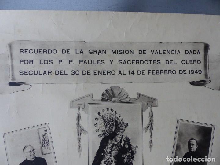 Arte: CARTEL VALENCIA - RECUERDO DE LA GRAN MISION DADA POR LOS P. P. PAULES Y SACERDOTES DEL CLERO - 1949 - Foto 7 - 168085068