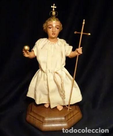 TALLA EN MADERA FIGURA NIÑO JESUS DE LA BOLA. COLONIAL.SIGLO XVIII. (Arte - Arte Religioso - Escultura)