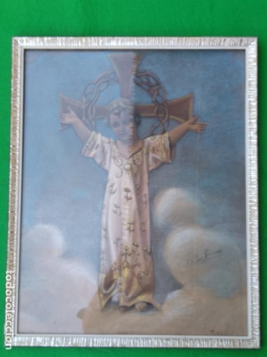 NIÑO DIOS PINTADO AL PASTEL (Arte - Arte Religioso - Pintura Religiosa - Otros)