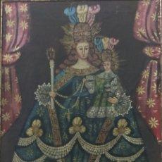 Arte: ANTIGUO OLEO SOBRE LIENZO VIRGEN CUZQUEÑA CON NIÑO ESCUELA CUZQUEÑA. Lote 168205714