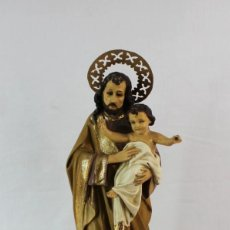 Kunst - Gran figura en pasta de Olot San José con Niño Jesús. Anónima Mato - 168216472