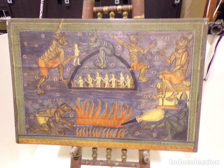 ANTIGUO RETABLO AL ESTILO ROMANICO PINTADO A MANO (Arte - Arte Religioso - Retablos)