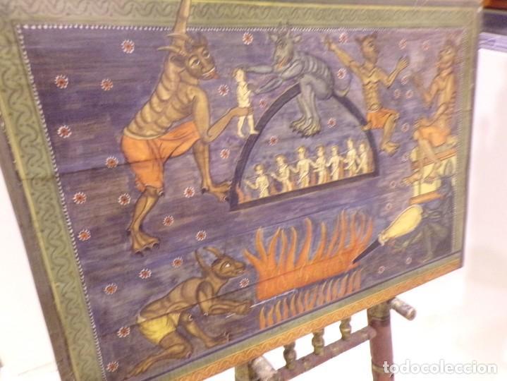 Arte: antiguo retablo al estilo romanico pintado a mano - Foto 2 - 168365616