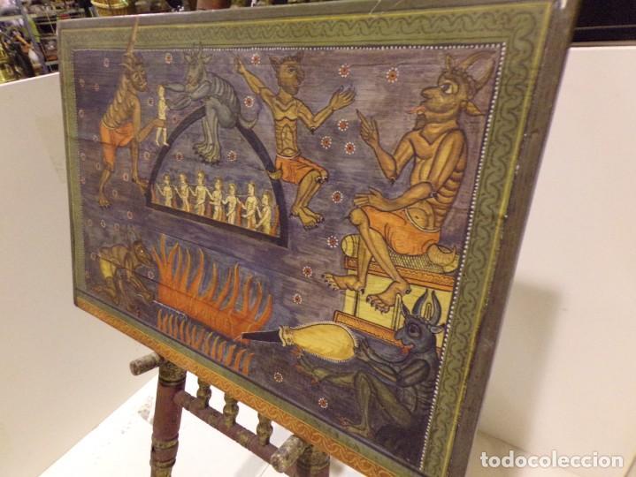 Arte: antiguo retablo al estilo romanico pintado a mano - Foto 3 - 168365616