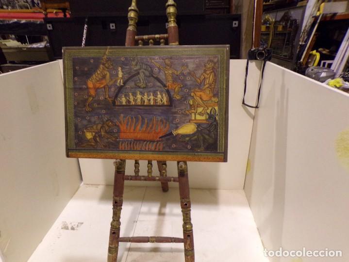 Arte: antiguo retablo al estilo romanico pintado a mano - Foto 4 - 168365616