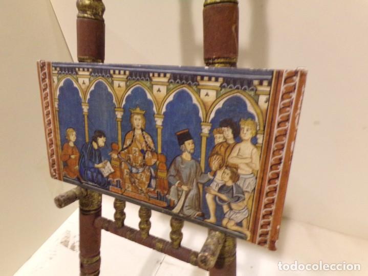 Arte: antiguo retablo al estilo romanico pintado a mano, - Foto 2 - 168368768