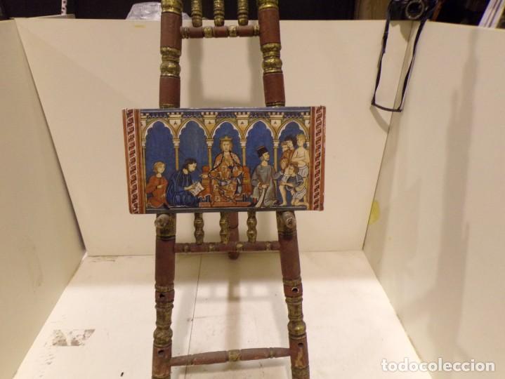 Arte: antiguo retablo al estilo romanico pintado a mano, - Foto 4 - 168368768