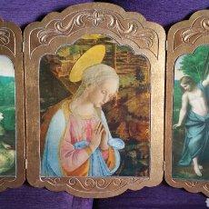 Arte: TRIPTICO RELIGIOSO CON LA VIRGEN, LAMINAS SOBRE MADERA, (74 ×52CM EL TRIPTICO ABIERTO ).. Lote 168550222