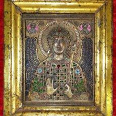 Arte: ICONO. EL ARCÁNGEL SAN MIGUEL. BRONCE CICELADO Y ESMALTADO. ESTILO BIZANTINO. RUSIA. XIX. Lote 168568128