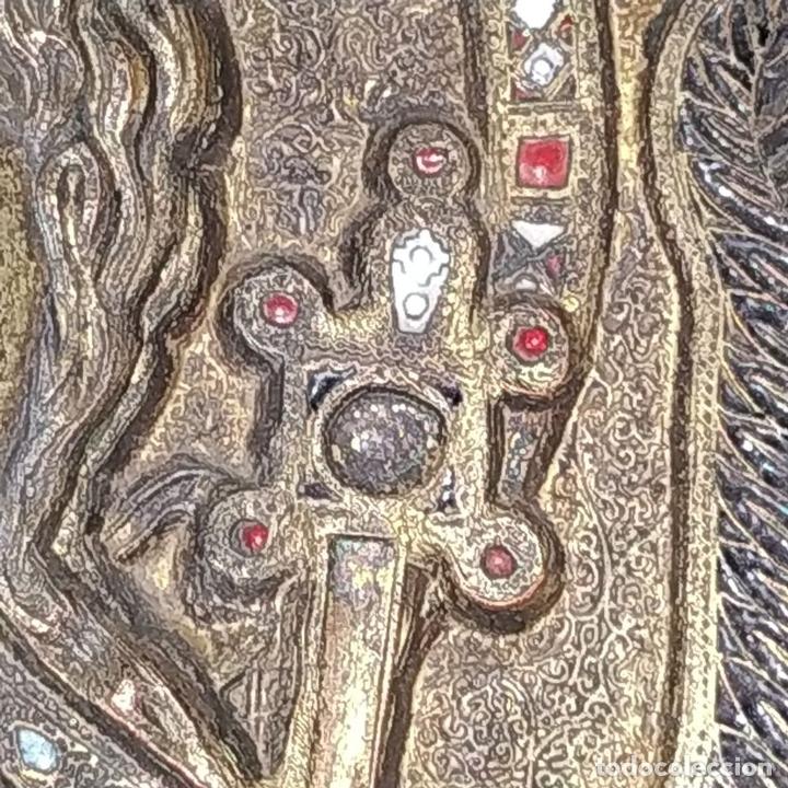 Arte: ICONO. EL ARCÁNGEL SAN MIGUEL. BRONCE CICELADO Y ESMALTADO. ESTILO BIZANTINO. RUSIA. XIX - Foto 3 - 168568128