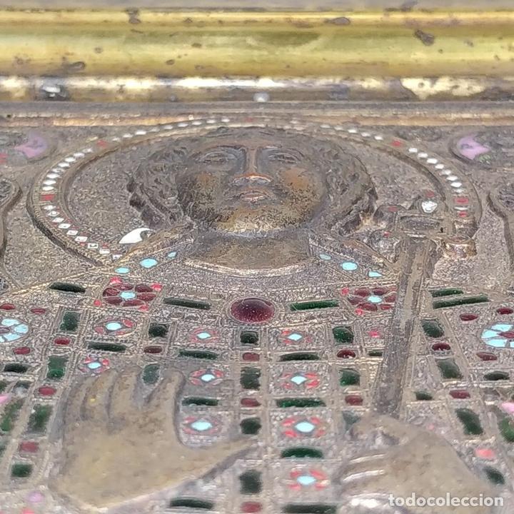 Arte: ICONO. EL ARCÁNGEL SAN MIGUEL. BRONCE CICELADO Y ESMALTADO. ESTILO BIZANTINO. RUSIA. XIX - Foto 10 - 168568128