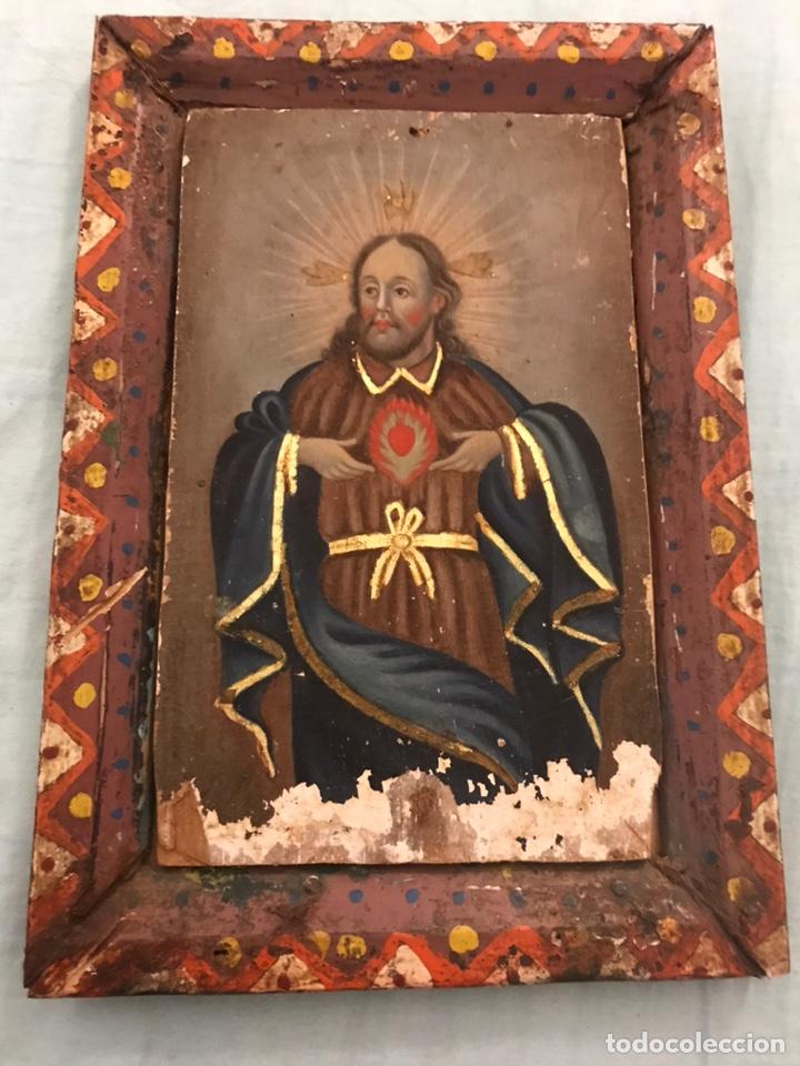 Arte: ANTIGUO RETABLO CORAZÓN DE JESÚS PINTADO SOBRE MADERA - Foto 9 - 140755446