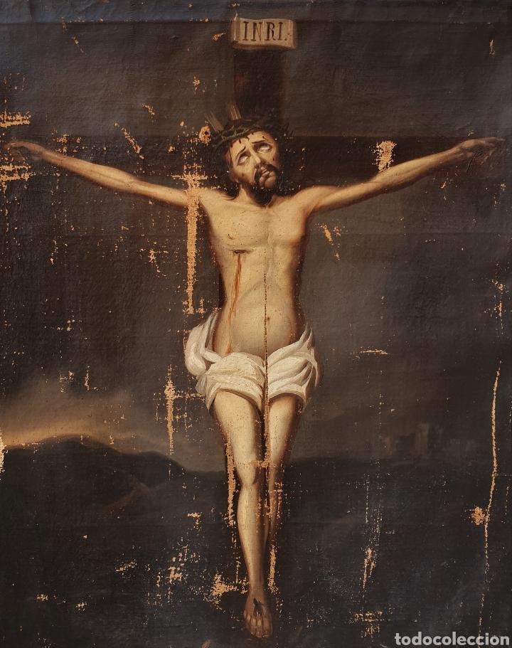 CRISTO CRUCIFICADO, S. XVII. ÓLEO SOBRE LIENZO. (Arte - Arte Religioso - Pintura Religiosa - Oleo)