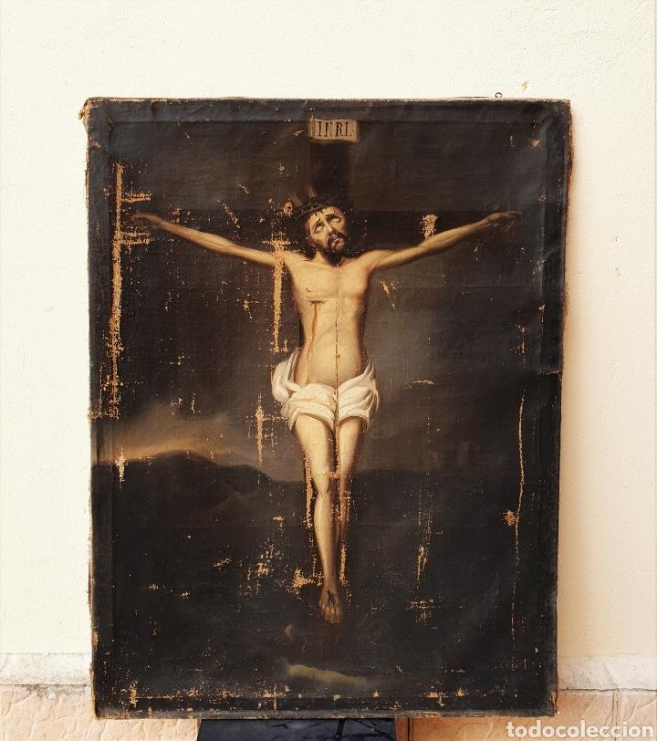 Arte: Cristo crucificado, s. XVII. Óleo sobre lienzo. - Foto 3 - 168615236
