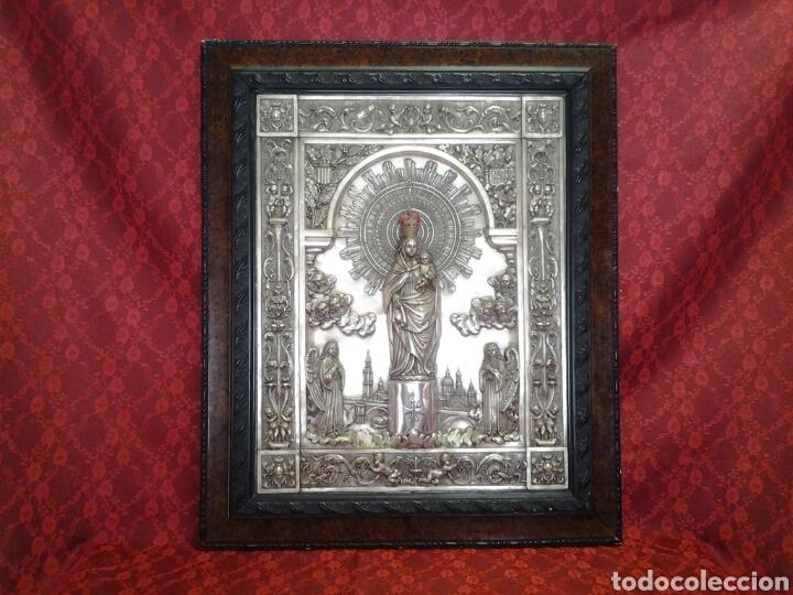 Arte: Virgen del Pilar ,cuadro antiguo en relieve - Foto 2 - 168699902