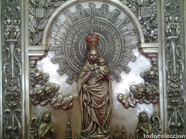 Arte: Virgen del Pilar ,cuadro antiguo en relieve - Foto 4 - 168699902
