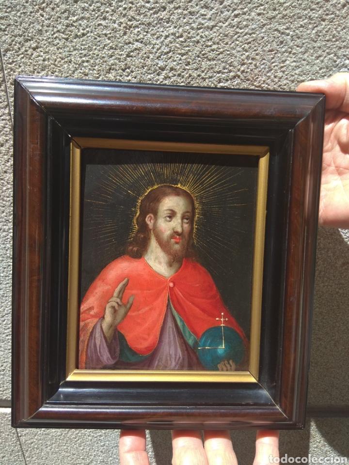 ÓLEO SOBRE COBRE CRISTO BENDICIENDO SIGLO XVII (Arte - Arte Religioso - Pintura Religiosa - Oleo)