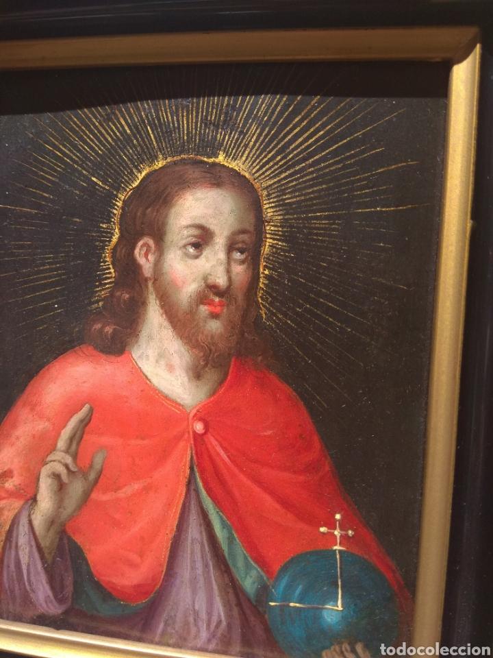 Arte: Óleo sobre Cobre Cristo Bendiciendo siglo XVII - Foto 4 - 168742596