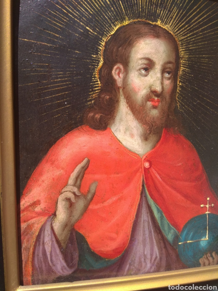 Arte: Óleo sobre Cobre Cristo Bendiciendo siglo XVII - Foto 6 - 168742596