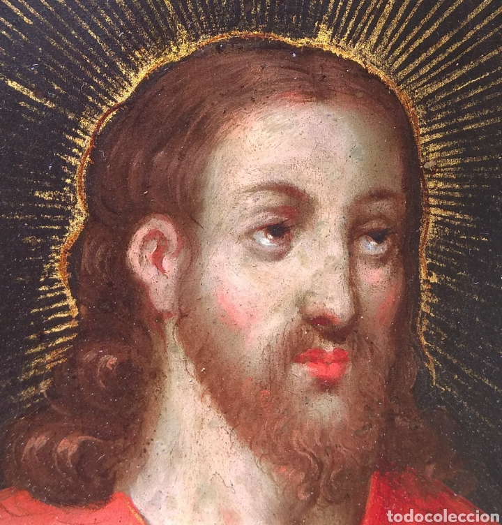 Arte: Óleo sobre Cobre Cristo Bendiciendo siglo XVII - Foto 8 - 168742596