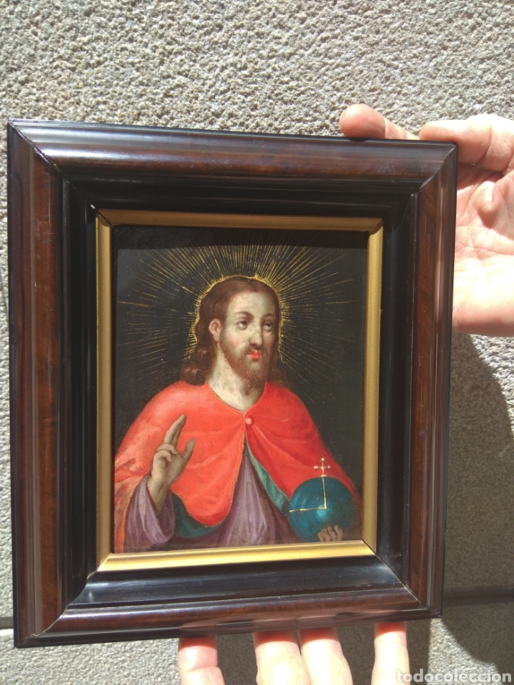 Arte: Óleo sobre Cobre Cristo Bendiciendo siglo XVII - Foto 10 - 168742596