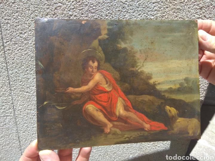 ÓLEO SOBRE COBRE SAN JUAN BAUTISTA SIGLO XVIII (Arte - Arte Religioso - Pintura Religiosa - Oleo)