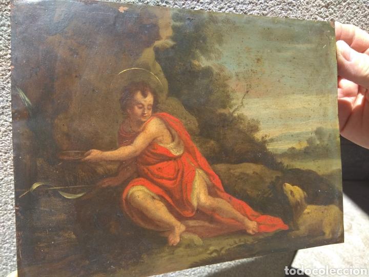 Arte: Óleo sobre Cobre San Juan Bautista siglo XVIII - Foto 2 - 168744246