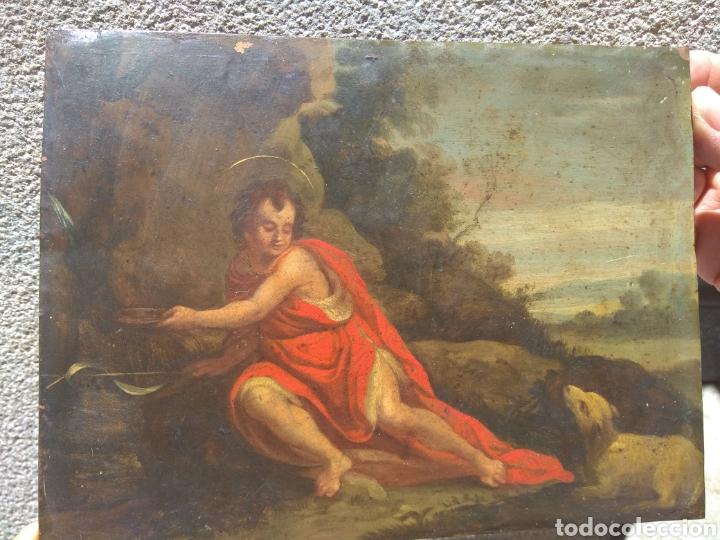 Arte: Óleo sobre Cobre San Juan Bautista siglo XVIII - Foto 3 - 168744246