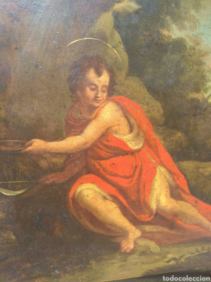 Arte: Óleo sobre Cobre San Juan Bautista siglo XVIII - Foto 4 - 168744246