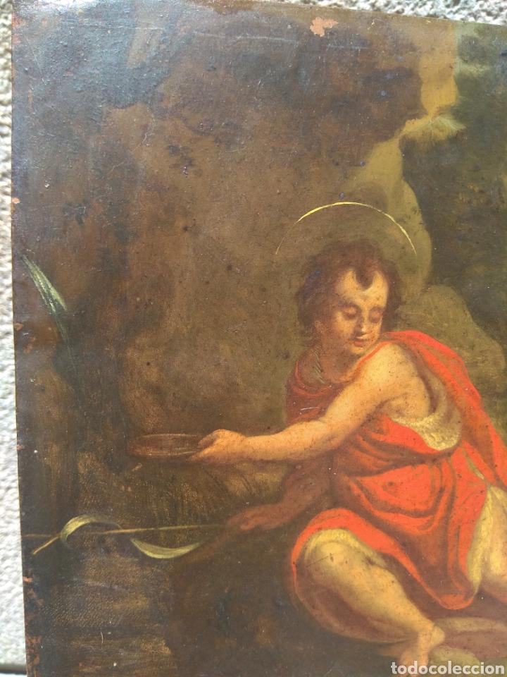Arte: Óleo sobre Cobre San Juan Bautista siglo XVIII - Foto 5 - 168744246
