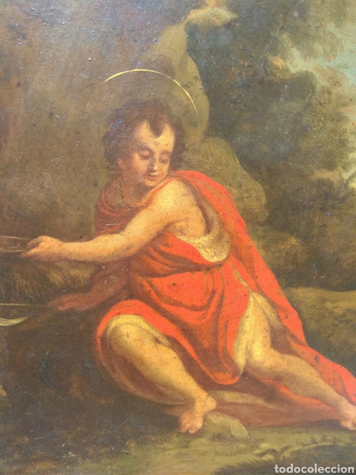 Arte: Óleo sobre Cobre San Juan Bautista siglo XVIII - Foto 8 - 168744246