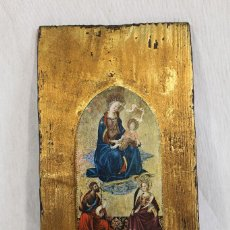 Arte: ICONO ORTODOXO EN MADERA CON LAMINA Y LUSTRES DE ORO. Lote 168765309