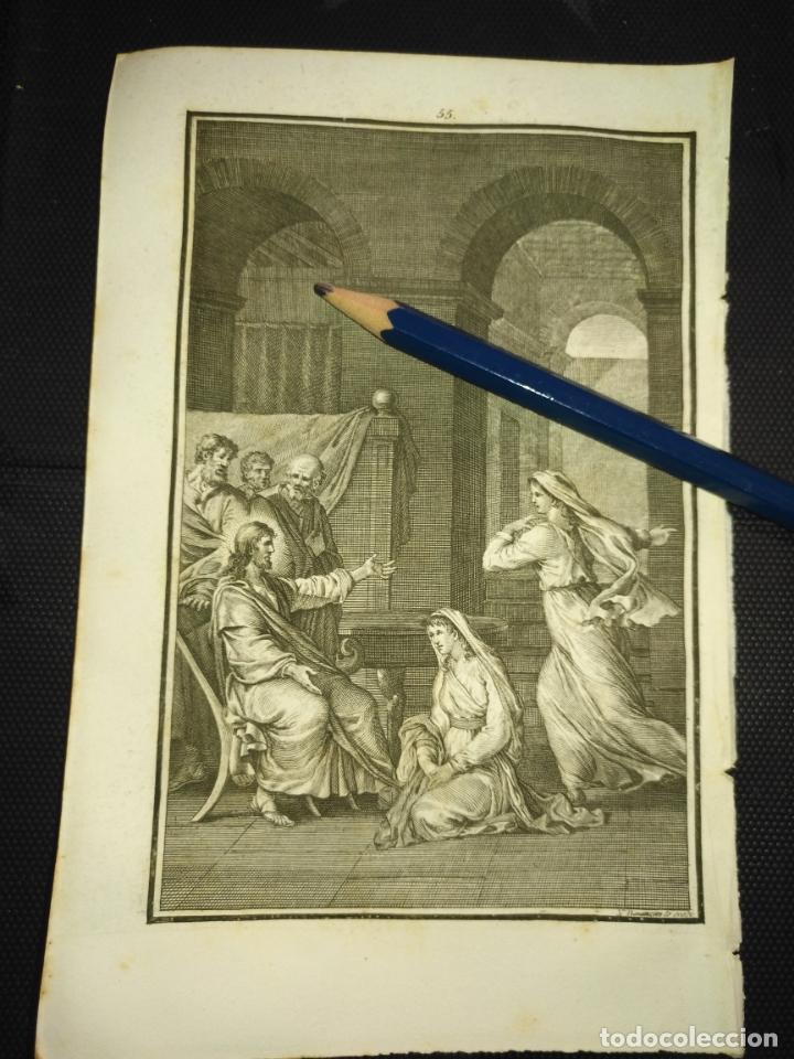 ORIGINAL GRABADO RELIGIOSO AÑO 1840 CRISTO - JESUS CON SANTA MARTA Y MARIA (Arte - Arte Religioso - Grabados)