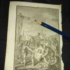 Arte: ORIGINAL GRABADO RELIGIOSO AÑO 1840 CRISTO - JESUS DESPOJADO DE SUS VESTIDURAS Y CLAVADO EN LA CRUZ. Lote 168906748