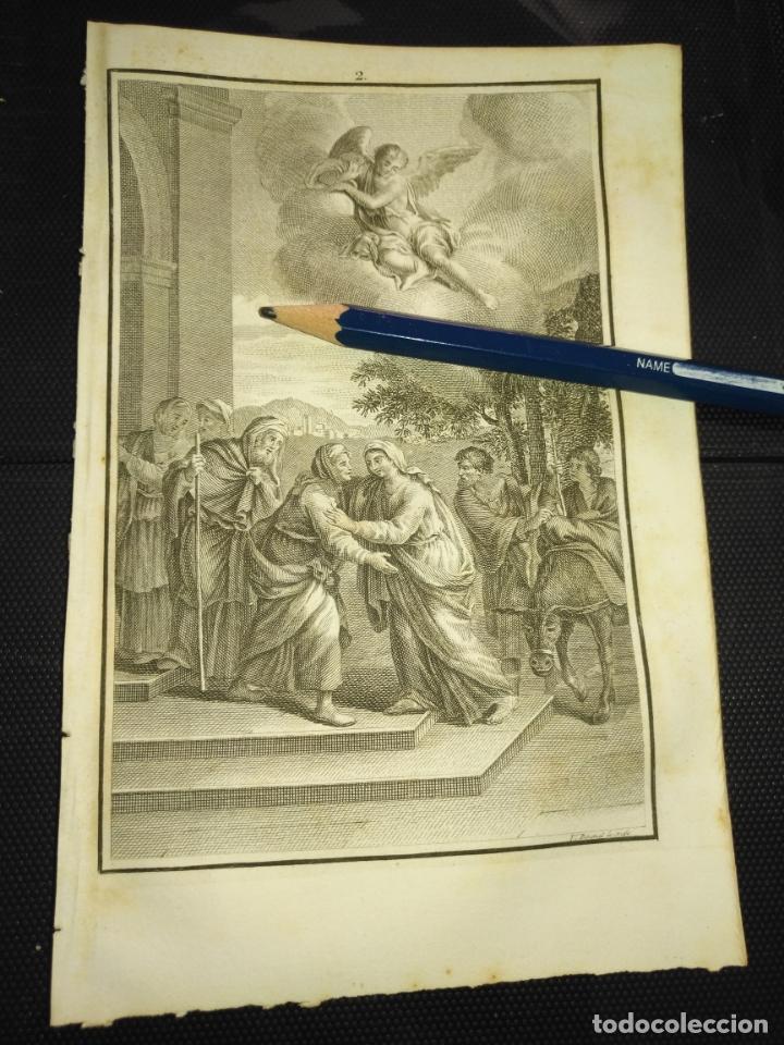 ORIGINAL GRABADO RELIGIOSO AÑO 1840 LA VIRGEN VISITACION A SANTA ISABEL (Arte - Arte Religioso - Grabados)