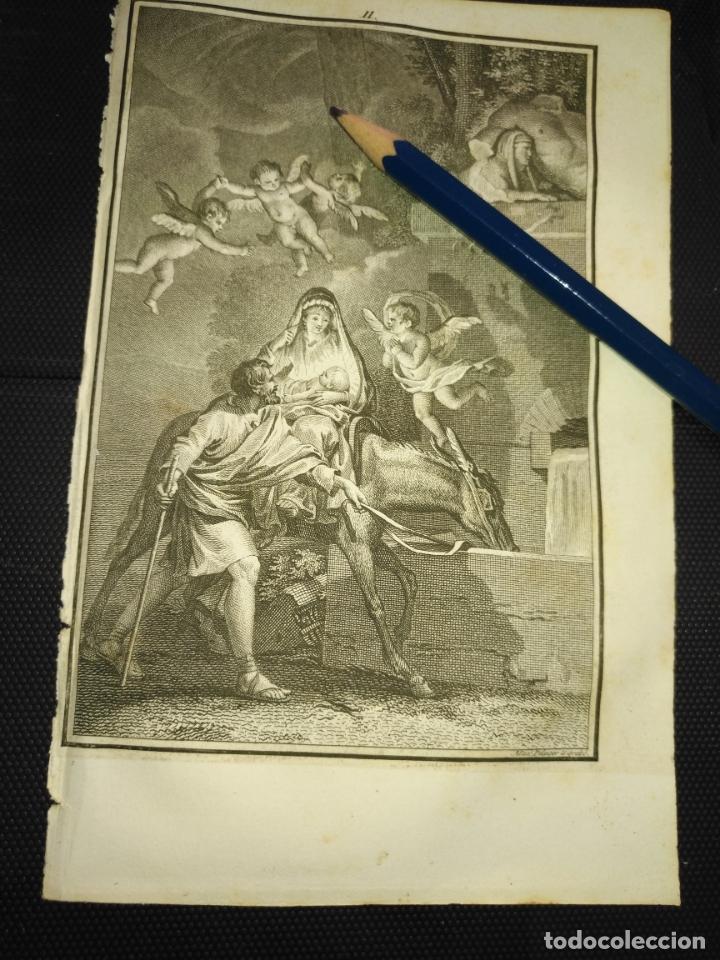 ORIGINAL GRABADO RELIGIOSO AÑO 1840 LA HUIDA A EGIPTO DE LA VIRGEN NIÑO JESUS ... (Arte - Arte Religioso - Grabados)