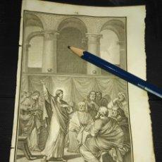 Arte: ORIGINAL GRABADO RELIGIOSO AÑO 1840 JESUS PREDICANDO EN EL TEMPLO. Lote 168907680