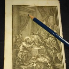Arte: ORIGINAL GRABADO RELIGIOSO AÑO 1840 MARIA MAGDALENA LAVA LOS PIES A CRISTO . Lote 168909196