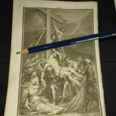 Arte: ORIGINAL GRABADO RELIGIOSO AÑO 1840 EL DESCENDIMIENTO DE CRISTO. Lote 168909588